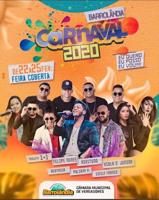 programação do carnaval 2020 de barrolandia