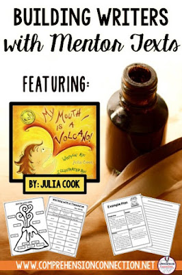 Have you discovered Julia Cook's books yet? Check out this writing lesson featuring My Mouth is a Volcano. Your students will create descriptive pieces using this book as an exemplar. Free resource included.