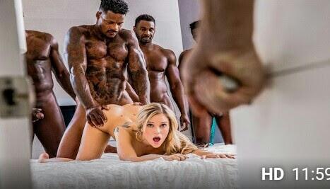 PornHub • Kali Roses in gangbang with 6 blacks