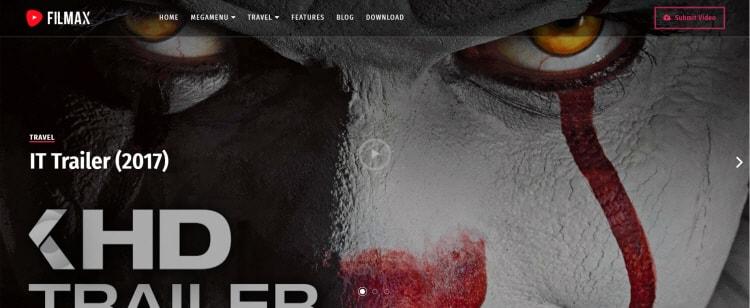Filmax blogger template for video website