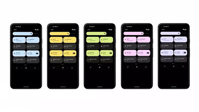 مميزات  نظام اندرويد 12 Android - ايقونات شريط المهام