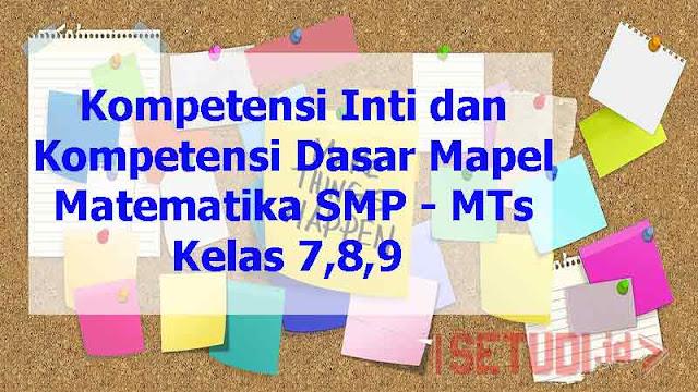 Kompetensi Inti dan Dasar Matematika SMP - MTs Kelas 7,8,9