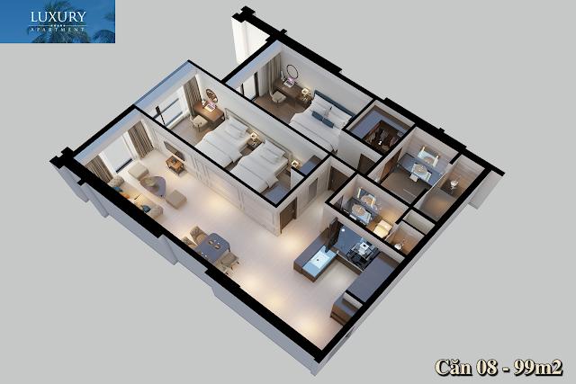 Hình ảnh 3D căn 08 dự án Luxury Apartment