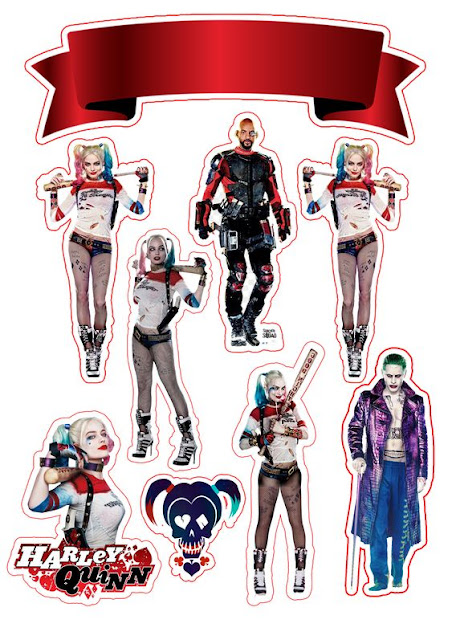 Suicide Squad: Free Printable Cake Toppers.