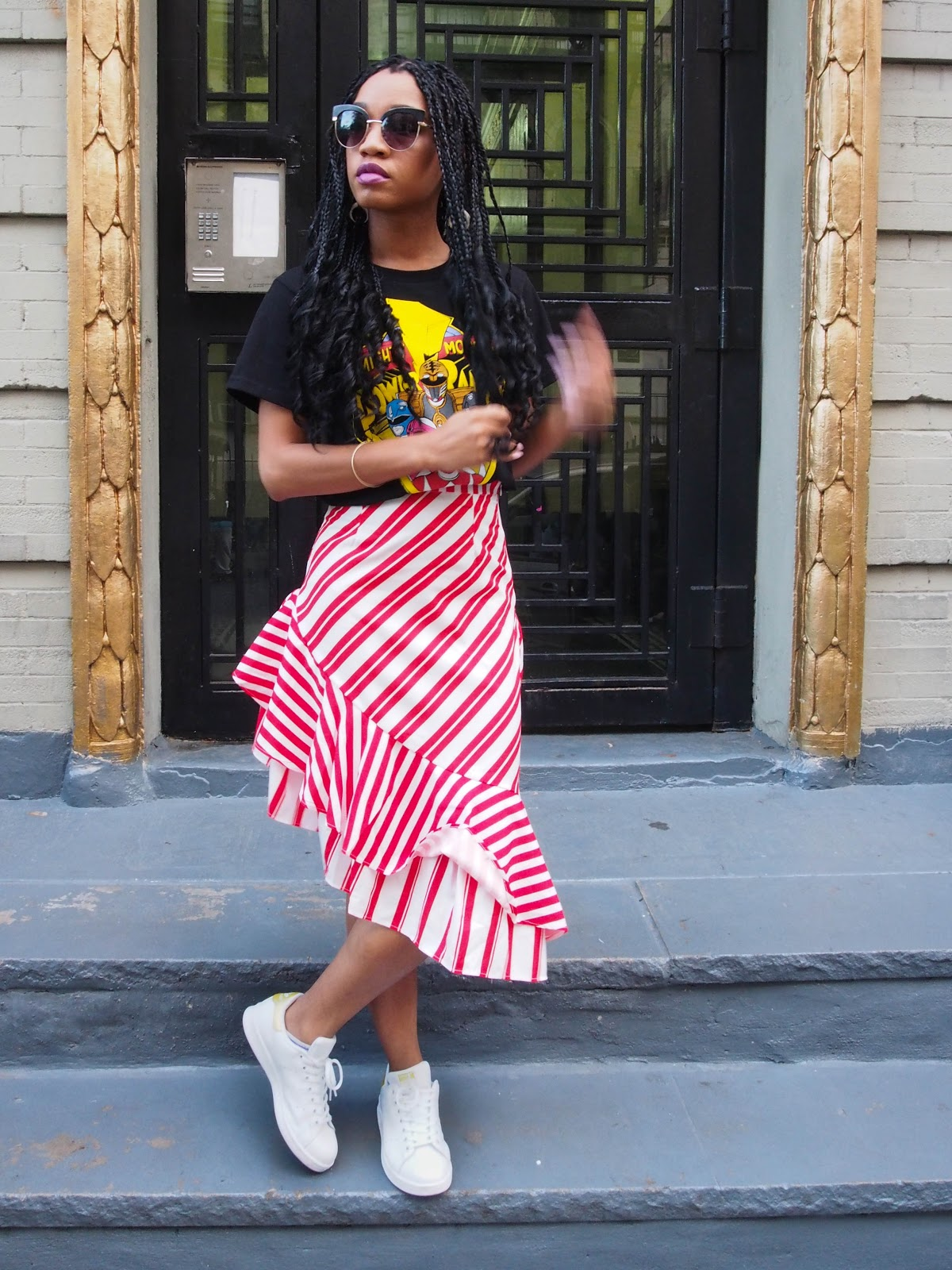 The Strong Suit, Crochet Braids, Red and White Skirt, Power Rangers Graphic Tee, Stan Smiths, Adidas, Street Style, NYFW Street Style, NYFW, Spring/Summer 2020