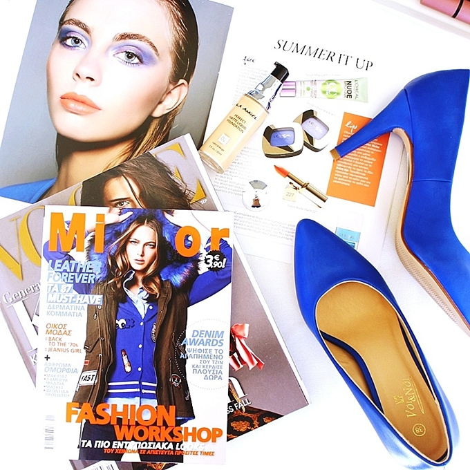 Mirror Greece.Cobalt blue shoes.Best blue fashion flatlays.