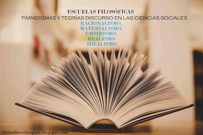 ESCUELAS FILOSÓFICAS PARADIGMAS Y TEORÍAS DISCURSO EN LAS CIENCIAS SOCIALES | RACIONALISMO, MATERIALISMO, EMPIRISMO, REALISMO E IDEALISMO