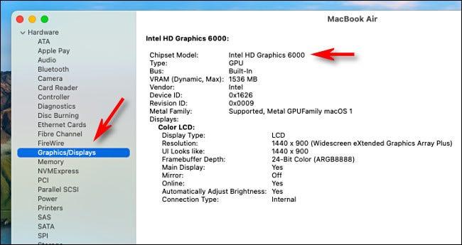 معلومات مفصلة عن الرسومات في تطبيق معلومات النظام على Intel Mac.