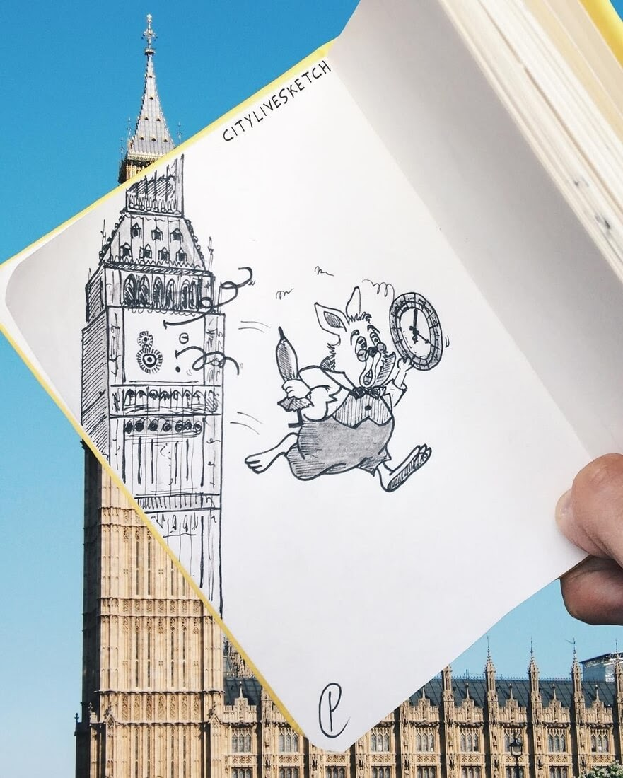 04-Big-Ben-The-White-rabbit-from-Alice-in-Wonderland-Pietro-Cataudella-3D-Architectural-Urban-Moleskine-Sketches-www-designstack-co