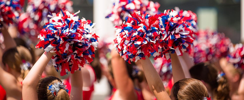 Cheerleaders at a 4th of July Parade