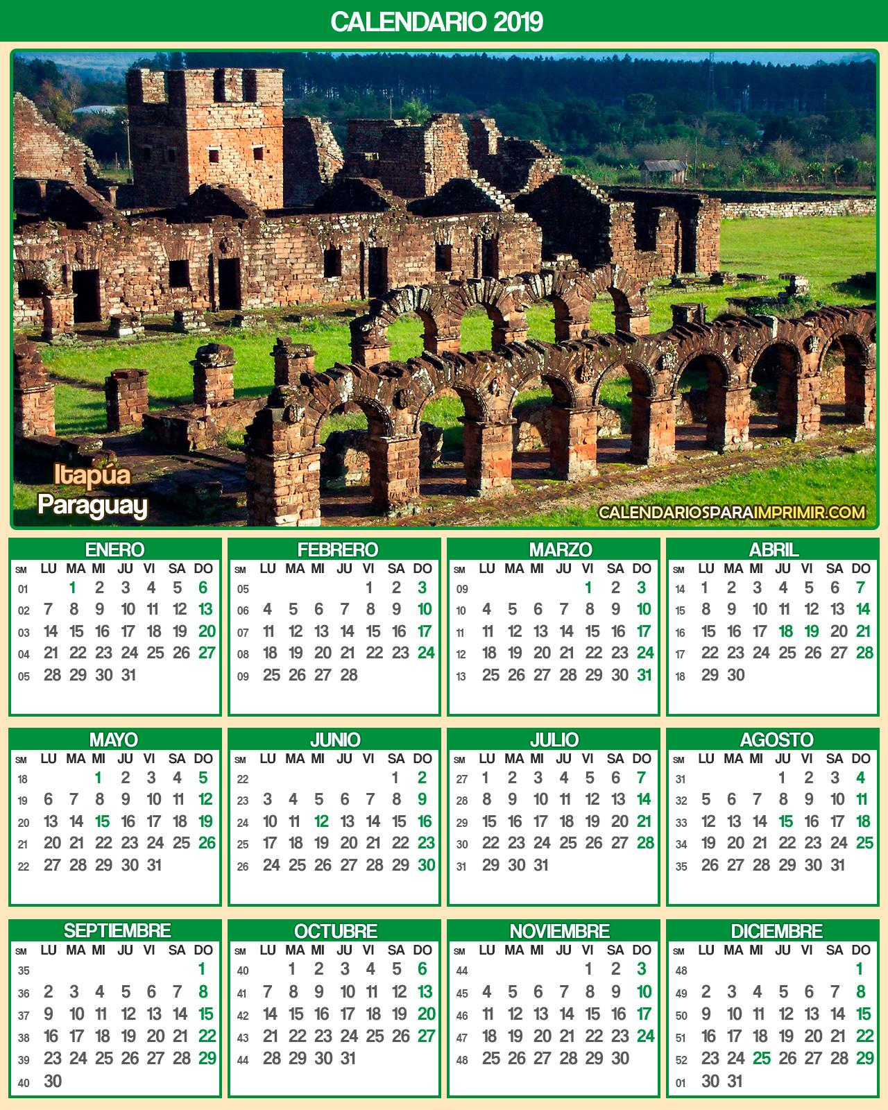 calendario paraguay 2019