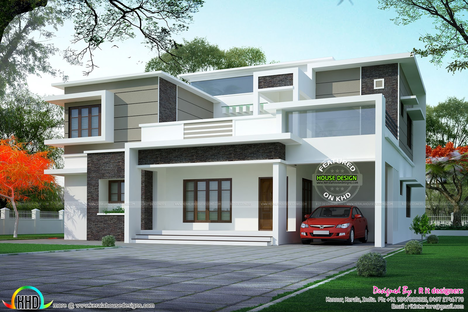 Box type flat roof home arch kerala home design and for Type of floors in houses