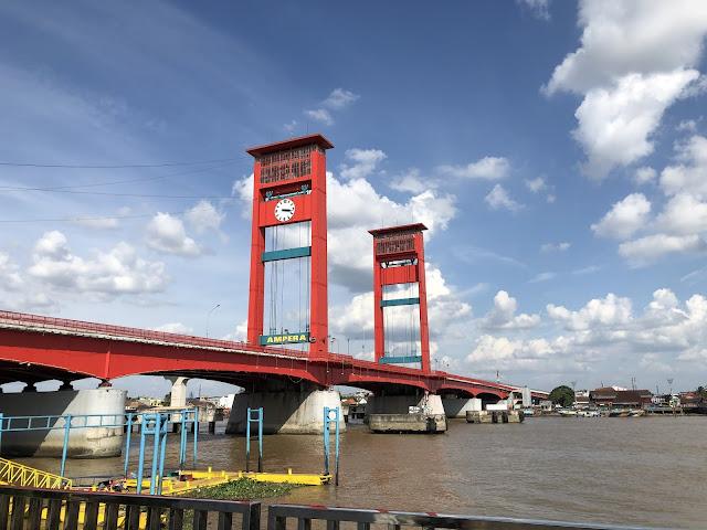 One afternoon at Ampera Bridge, Palembang, South Sumatra