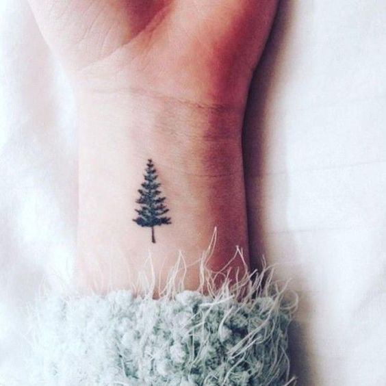 Small Dainty Minimalist Tattoo Ideas Inspo pnw pacific northwest pine evergreen