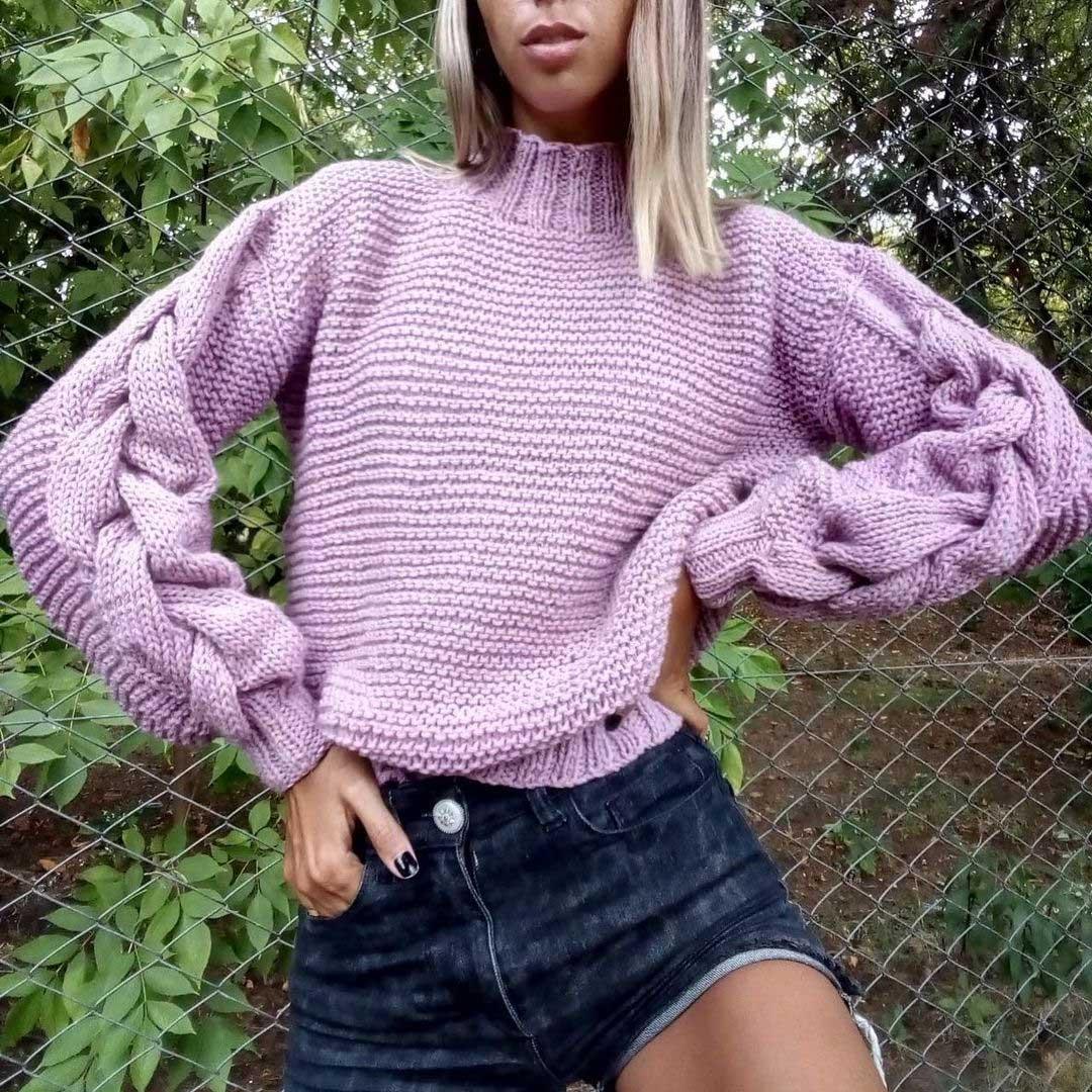 Sweaters tejidos invierno 2021 lila purpura violeta