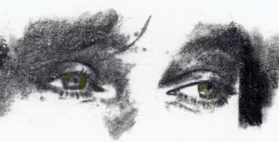 """""""Eyes of Queen Boudicca, also known as Bodicea"""" Charcoal and colored pencils on Paper, c. 2007 2 x 4.5 inches"""