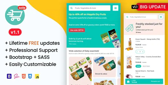 Best Organic Food and Grocery Market Mobile Template