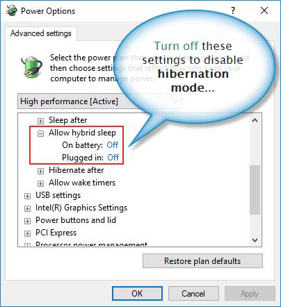 Turn off hibernation mode through power options dialogue box