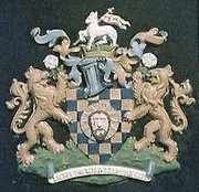 The coat of Arms of Halifax, West Yorkshire, England.  Depicting the head of John the Baptist.