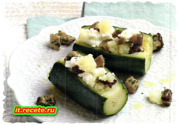 Zucchine ripiene di patate e porcini