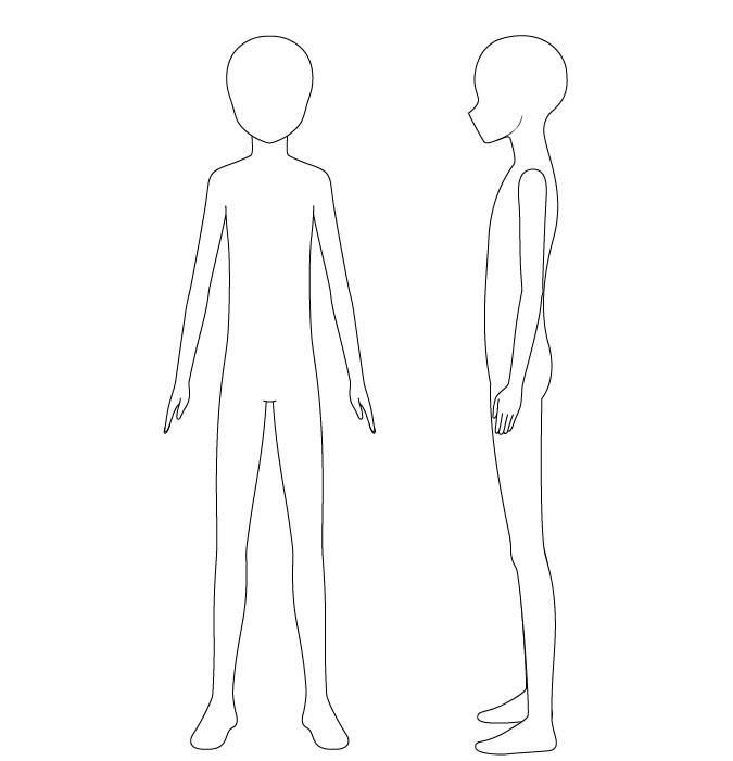 Gambar garis tubuh anak anime