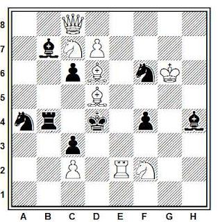 Problema de mate en 2 compuesto por Byron Zappas (2º Premio, The Problemist 1970)
