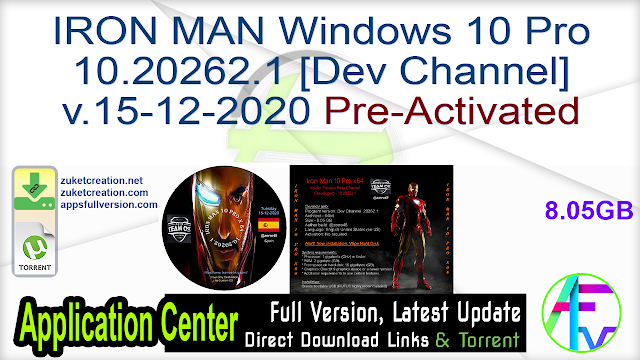 IRON MAN Windows 10 Pro 10.20262.1 [Dev Channel] v.15-12-2020 Pre-Activated