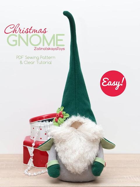 Olof Christmas gnome with a green Swedish hat by sewing patterns of Zatinatskaya Natalia