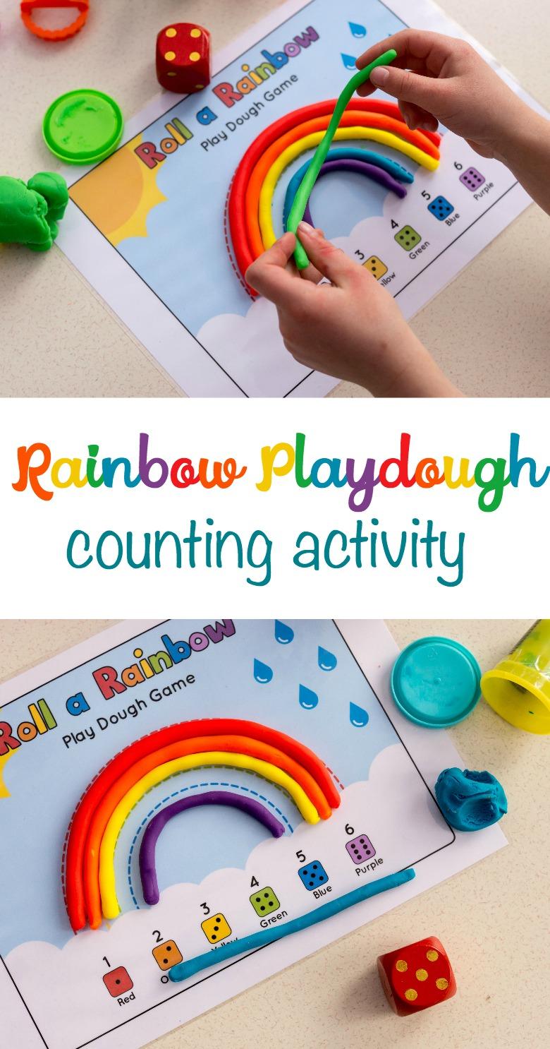 Rainbow playdough counting activity for preschoolers. Roll a rainbow playdough game.