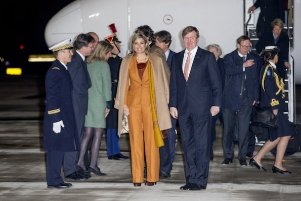 King Willem-Alexander and Queen Maxima of The Netherlands arrive at the airport Velizy-Villacoublay in Paris, France