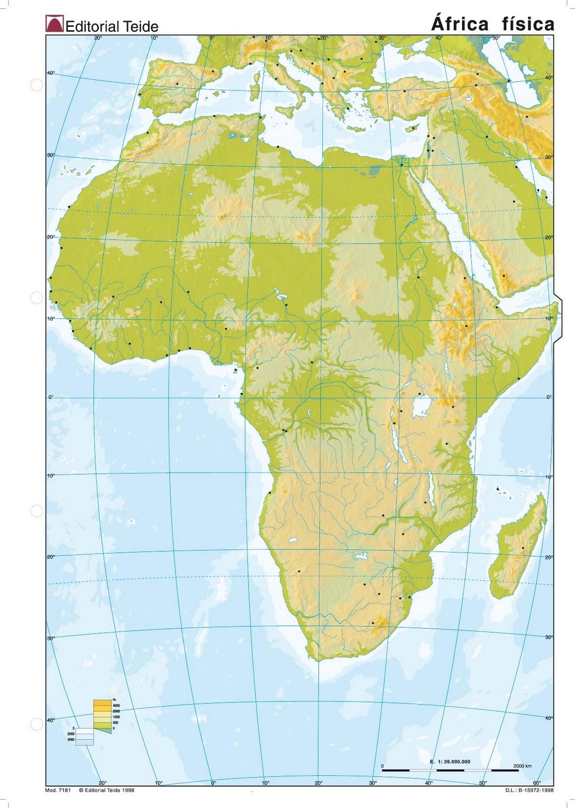 Africa Mapa Politico Mudo.Mapa Fisico Mudo De Africa Para Imprimir En A4 Mapa