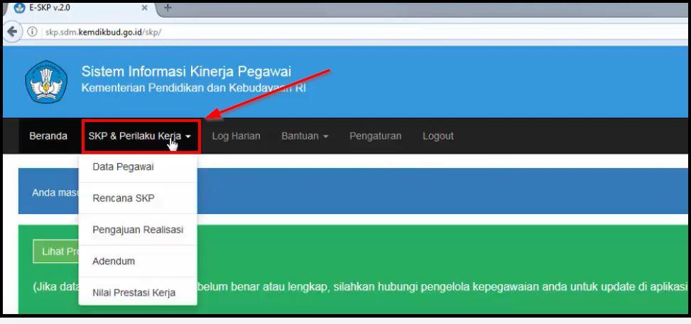 tampilan menu e-skp kemdikbud terbaru