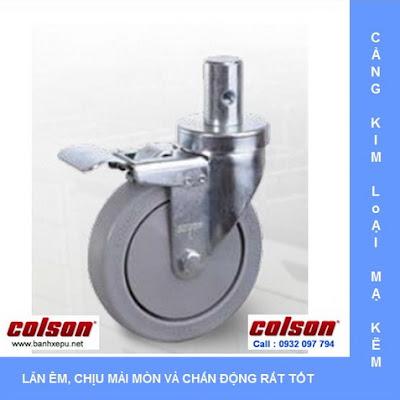 Bánh xe cao su trục tròn Colson có khóa phi 5 inch | 2-5651-448BRK4 banhxedayhang.net