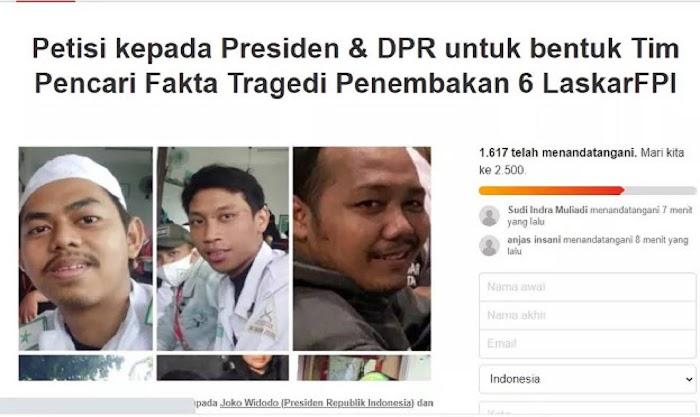 Petisi Presiden dan DPR RI Bentuk Tim Pencari Fakta Penembakan 6 Laskar FP1 Bermunculan