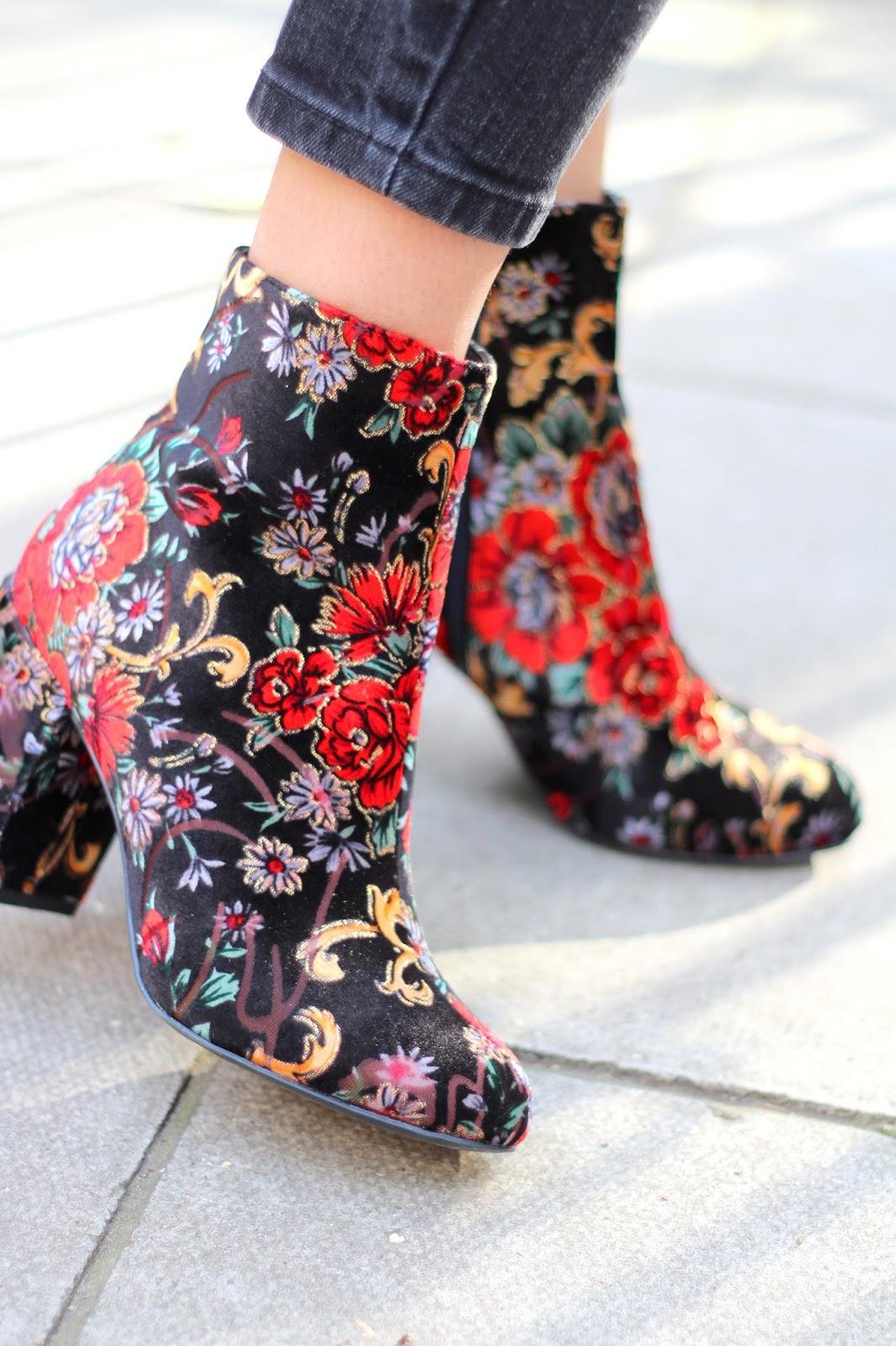 floral velvet ankle botts new look peexo