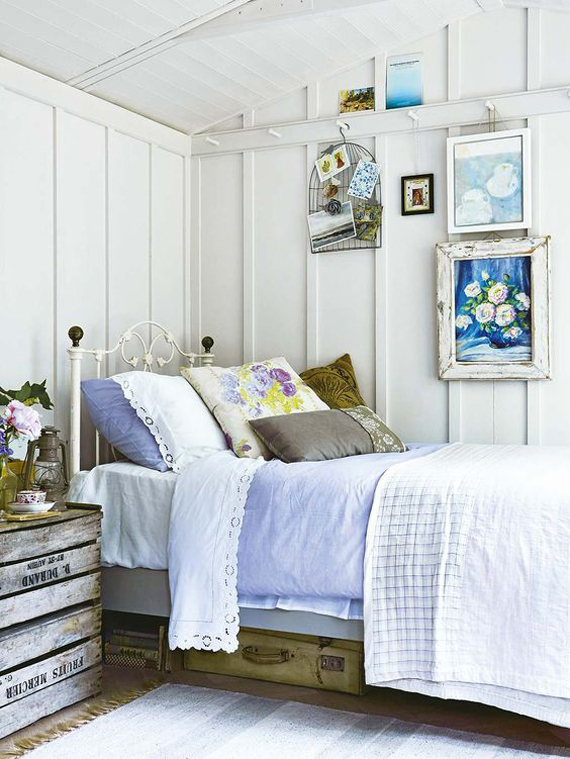 country style bedroom, deco ideas white painted iron bed
