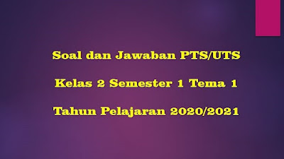 Soal PTS/UTS Kelas 2 Semester 1 Tema 1 TP 2020/2021