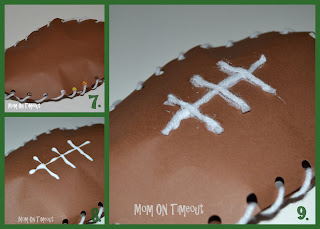 three image collage of paper footballs made with brown construction paper and yarn