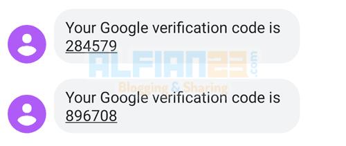 Contoh kode OTP dari Google