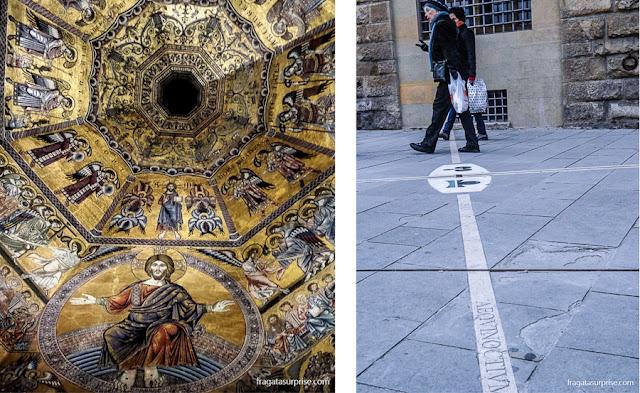 """Mosaico """"O Juízo Final"""", no Batistério de Florença, e a Meridiana do Museu Galileo Galilei"""