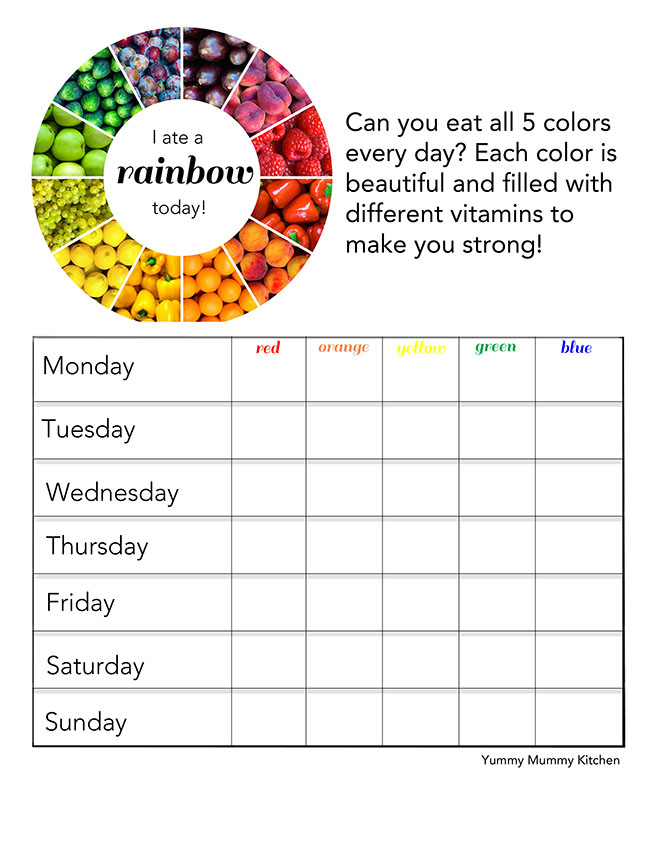 I Ate A Rainbow Free Printable Chart For Kids