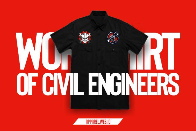 Kemeja Kerja Civil Enginers Bordir Komputer Satuan - Konveksi Bordir Kemeja