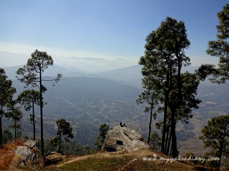 View of the Almora town from the Kasar Devi Temple hilltop, Uttarakhand
