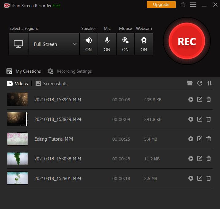 iFun Screen Recorder Main Interface Screenshot