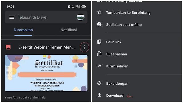 cara download file di Google Drive melalui android
