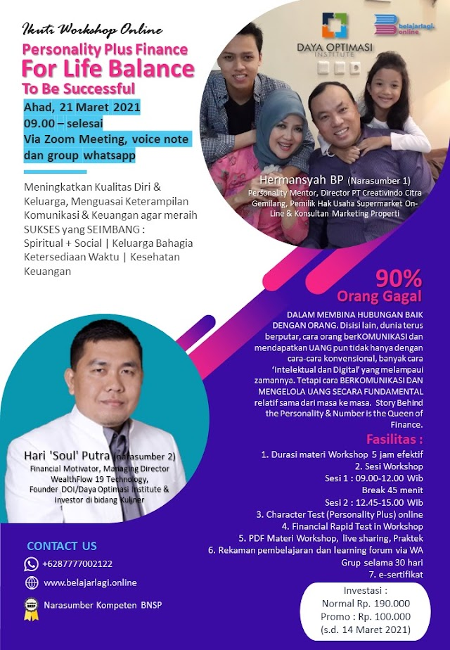 Workshop Online Personality Plus Finance for Life Balance to be Successful