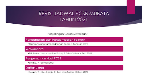 Revisi Jadwal PCSB 2021