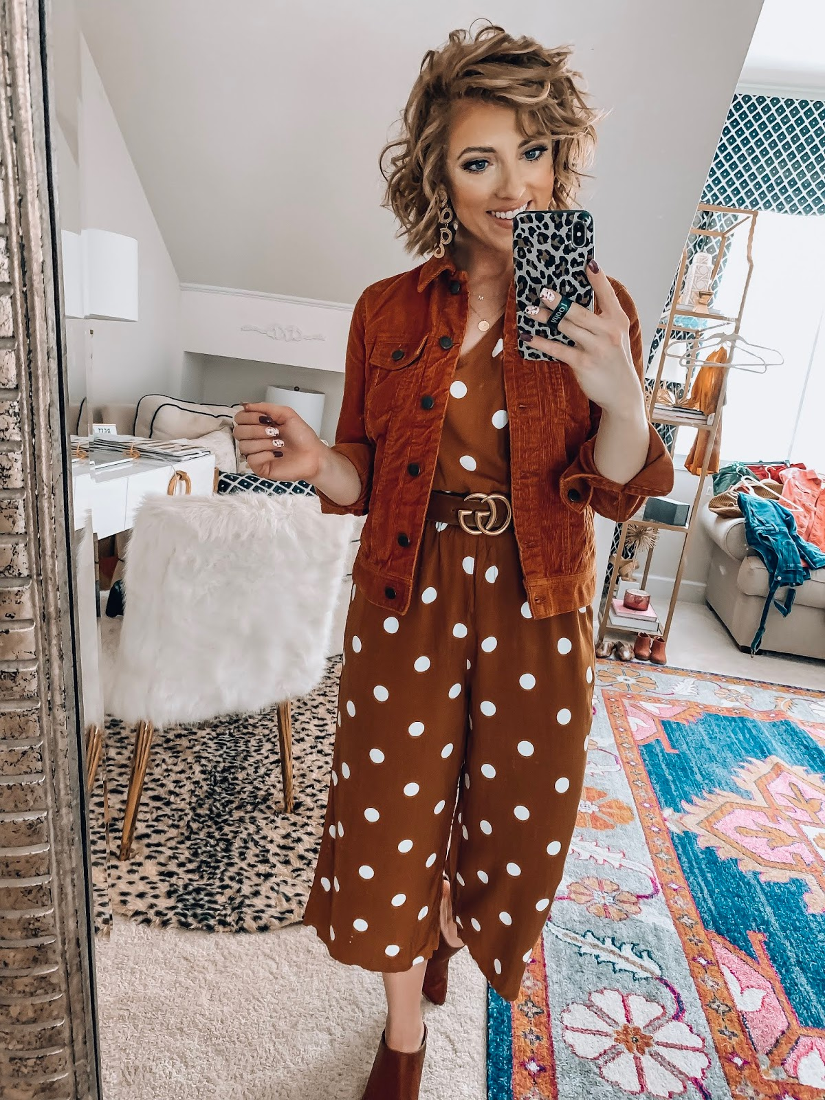 Old Navy Polka Dot Jumpsuit + Corduroy Jacket  - Somethig Delightful Blog #affordablefashion