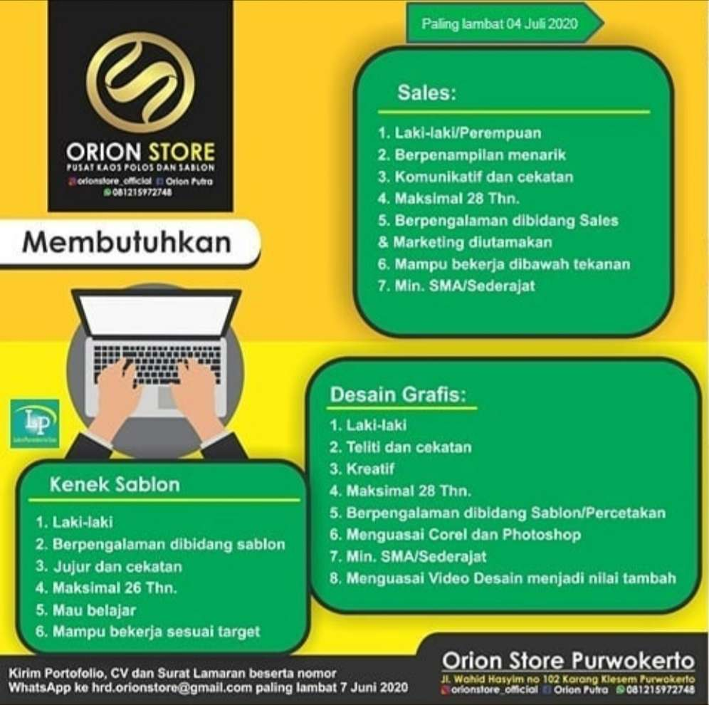 Update lowongan Kerja Orion Store Purwokerto