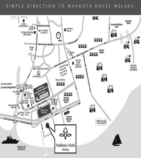 peta hotel mahkota, mahkota hotel direction